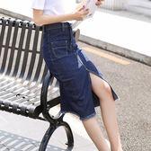 正韓韓系2018夏季新款女裝春季水洗版型牛仔布自然腰中長裙牛仔裙半身【店慶滿月好康八五折】