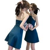 2018春夏新款韓版夜店女裝性感掛脖露背顯瘦露肩無袖a字連身裙潮夢想巴士