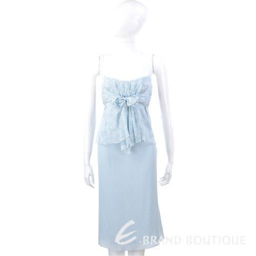 VALENTINO 蝴蝶結細肩帶洋裝(水藍色) 0530018-23
