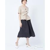 CANTWO彈力束腰細褶褲裙-二色-黑白點