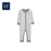 Gap男女嬰兒小熊圖案圓領長袖一件式包屁衣494259-石楠灰色