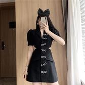 西裝裙 夏季新品訂製款小黑裙個性設計感水鑚蝴蝶露腰顯瘦西裝洋裝-Ballet朵朵