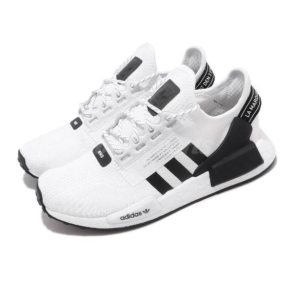 adidas 休閒鞋 NMD_R1.V2 白 黑 男鞋 女鞋 Boost 中底設計 運動鞋 襪套式 【ACS】 FV9022