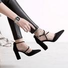 高跟鞋女 粗跟鞋 歐美春夏新款腳環綁帶絨面尖頭高跟鞋淺口單鞋女鞋韓版女鞋子《小師妹》sm3376