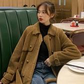 冬裝女新款搭配百搭寬鬆毛絨夾克外衣顯瘦皮毛一體羊羔毛外套 雅楓居