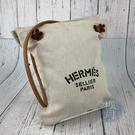 BRAND楓月 HERMES 愛馬仕 原色帆布 鋼板印花風LOGO ALINE PM 肩背包 隨身小包 100%純棉