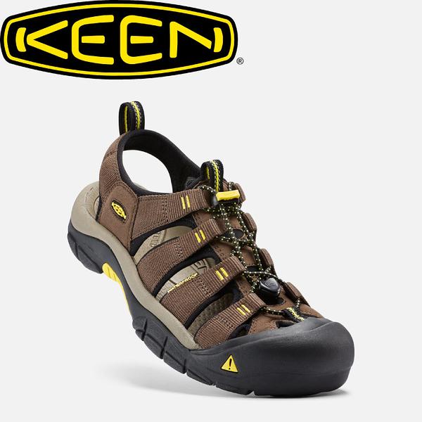 【KEEN 美國 男款 護趾涼鞋《咖啡/黃》】1016285/水陸兩用鞋/涼鞋/休閒涼鞋