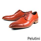 【Pelutini】橫飾雕花皮鞋 咖啡(8330-BR)