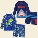 男童 長袖防曬 泳裝 鯊魚 恐龍 泳衣+泳褲 兩件式 泳裝 橘魔法 泳褲 兒童 水母衣 男童 長袖 泳衣