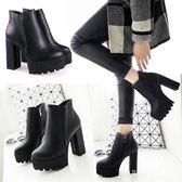 短靴 裸靴 秋冬季新款百搭韓版高跟防水臺加絨粗跟鞋