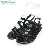 【Bo Derek 】花瓣滾邊鑽飾平底涼鞋-黑色