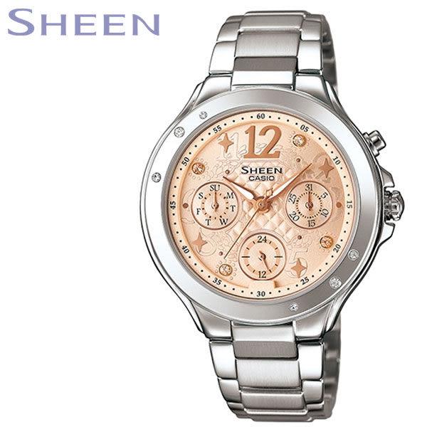 【名人鐘錶】CASIO SHEEN 甜心霓虹粉橘鋼帶錶・日期/星期顯示・SHE-3032D-9A・公司貨・少女時代代言