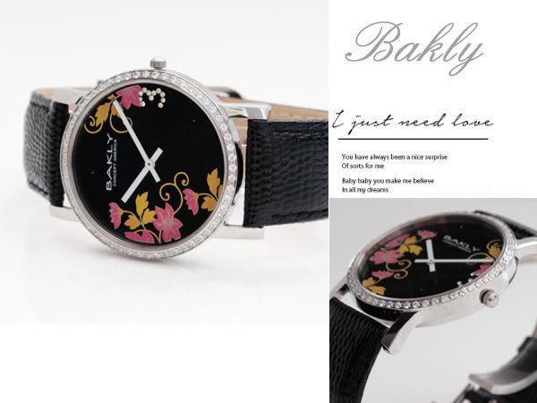 【完全計時】手錶館│BAKLY 都會晶鑽簡單錶款 唐草水墨花卉款/黑色面 BAS6020T-1