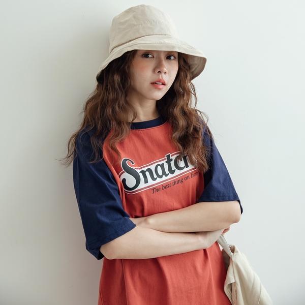 MIUSTAR 美式風格!Snatch膠印配色接袖棉質上衣(共1色)【NJ1267】預購