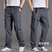 一件免運-工作褲夏季男褲大尺碼戶外寬鬆多口袋工裝褲薄款男休閒褲長褲棉質工作褲子M-3XL4色