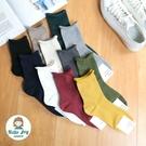 【正韓直送】韓國襪子 捲邊坑條素色中筒襪...