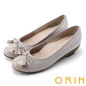 限時特賣-ORIN 氣質甜美風 蝴蝶結流蘇經典牛皮低跟鞋-米色