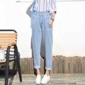 韓版bf風高腰牛仔褲女大碼九分褲寬鬆顯瘦小腳蘿卜褲秋學生哈倫褲