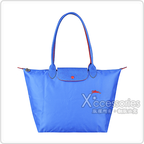 LONGCHAMP COLLECTION刺繡LOGO尼龍摺疊款長把拉鍊肩背包(大/藍紫x紅)