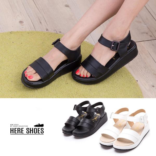 [Here Shoes] 涼拖鞋-MIT台灣製 美式休閒 經典黑白款 一字寬 4cm厚底涼鞋 2色─KD919