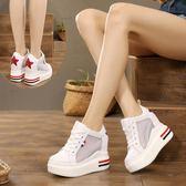 新款厚底內增高坡跟女鞋白色透氣系帶松糕跟12cm網鞋