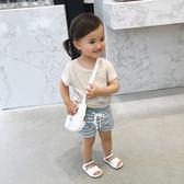 嬰童裝 女寶寶夏裝t恤韓版潮個性下腳交叉兒童麻棉短袖t恤 全館免運