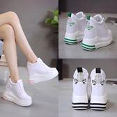 【降價兩天】內增高女鞋10cm白色厚底鬆糕鞋秋季顯瘦高跟休閒運動鞋刺繡