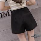 高腰裙褲女夏季韓版寬鬆學生顯瘦a字休閒雪紡闊腿短褲裙【邻家小鎮】