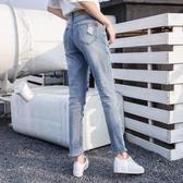 破洞爛牛仔褲女春夏新款韓國bf高腰直筒寬鬆大碼拉絲乞丐九分褲潮 蘑菇街小屋