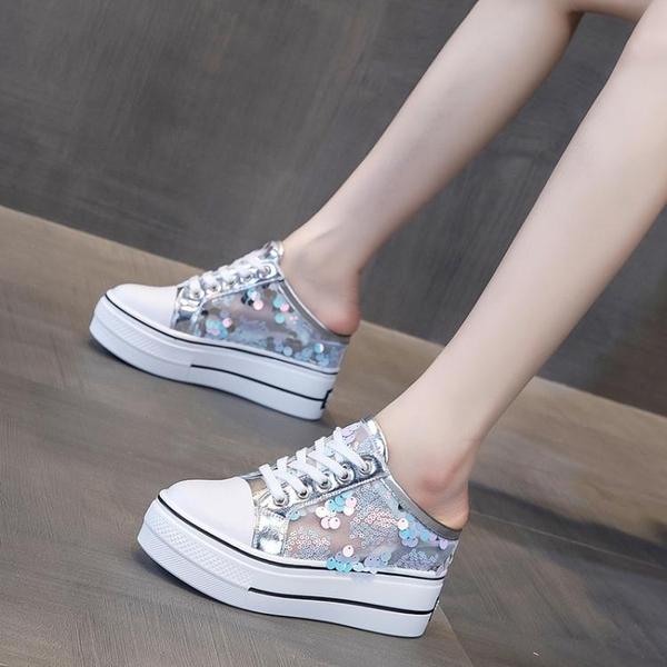 半拖鞋 內增高包頭半拖鞋女2021年新款夏季網紅厚底拖鞋外穿高跟涼拖女鞋 小天使