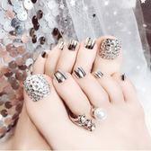 甲片腳趾甲成品美甲 閃鉆腳貼片送果凍背膠搓條金屬銀光