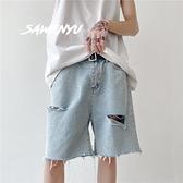 寬管牛仔短褲女潮ins港味直筒寬鬆五分褲子夏季薄款高腰破洞中褲
