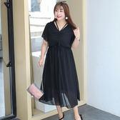 中大尺碼~荷葉邊袖口短袖洋裝(XL~4XL)