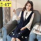 氣質洋裝--假兩件優雅繫帶蕾絲荷葉袖修身...
