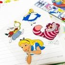 迪士尼貼紙 愛麗絲夢遊仙境 妙妙貓 時間兔 4入貼紙 防水貼紙 安全帽 機車貼 行李箱貼紙 COCOS TM030