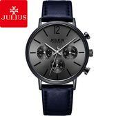 JULIUS 聚利時 城市之耀三眼皮革錶帶腕錶-深邃藍/40mm【JAH-101B】