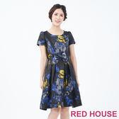 RED HOUSE-蕾赫斯-蝴蝶結緹花洋裝(藍色)