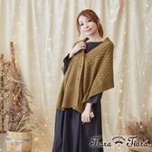 【Tiara Tiara】激安 羅紋針織雙穿圍巾罩衫(灰/黃)