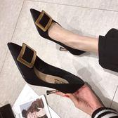 高跟鞋女細跟2019春季新款歐洲站網紅鞋子少女黑色百搭尖頭單鞋潮