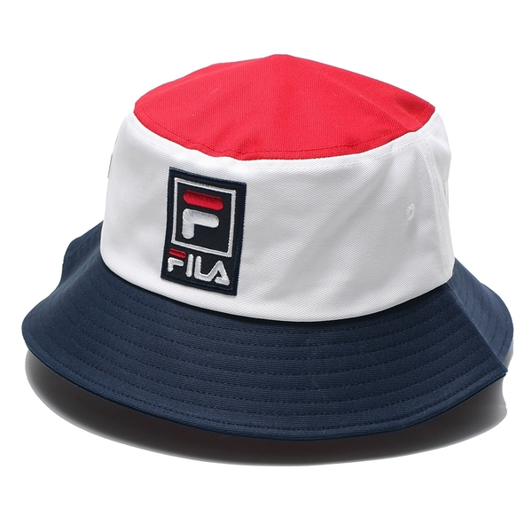FILA 漁夫帽 白藍紅 棉 遮陽 雙面 休閒 筒帽 (布魯克林) HTV1202RD