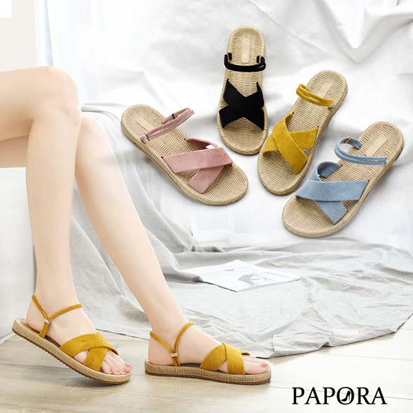 PAPORA交叉麻底兩穿式平底涼拖鞋KQ1734黑/黃/粉/藍(偏小)