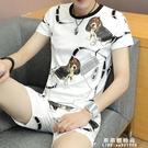 短袖男t恤夏季冰絲兩件套韓版修身五分褲青年潮流套裝印花休閒【果果新品】