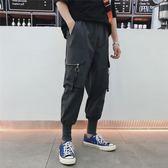 嘻哈褲男 秋季嘻哈加絨工裝褲男士寬鬆褲子韓版潮流百搭運動束腳休閒褲潮牌 伊莎公主