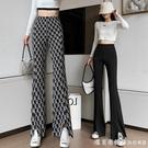 字母闊腿褲女高腰垂感開叉褲子2021夏季新款女裝格子褲寬松工裝褲 美眉新品