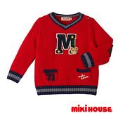 MIKI HOUSE 普奇熊學院風V領針織毛衣(紅)