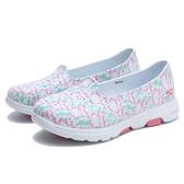 SKECHERS 水鞋 GO WALK5 白紫綠 花花 防水膠鞋 女 (布魯克林) 111106WMLT