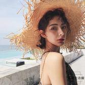 度假海邊草帽遮陽沙灘帽女大帽檐超大拉菲草帽子【時尚大衣櫥】