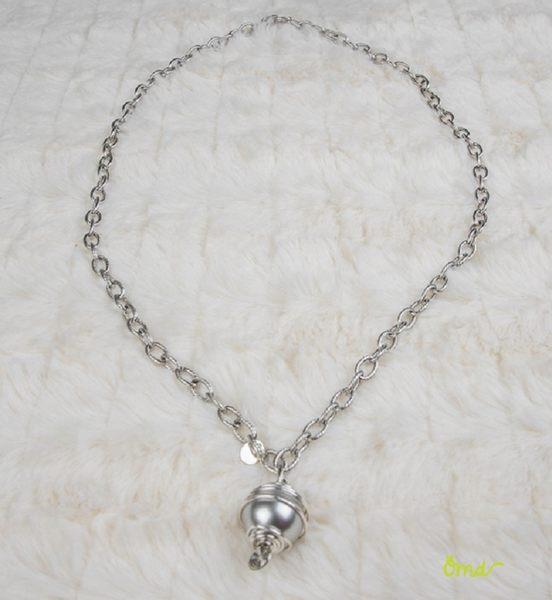 艾絲翠得銀色大水晶珍珠吊墜項鍊   施華洛世奇元素原廠水晶珍珠 不鏽鋼鍊 銀色系   ~ OHMYDOG! ~