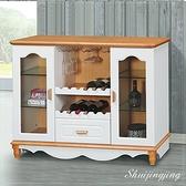【水晶晶家具/傢俱首選】CX1516-3 原木白混色4呎單抽雙門多功用餐邊櫃~~附托盤式酒架