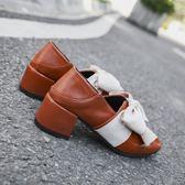 小皮鞋 網紅單鞋女秋季 新款百搭高跟溫柔晚晚仙女豆豆鞋ins小皮鞋潮 新年禮物